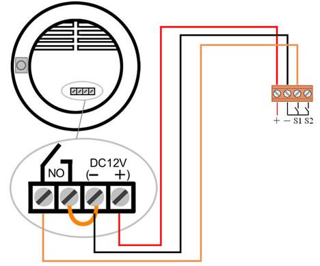 由科力屋系统供电的燃气/烟气传感器接线示意